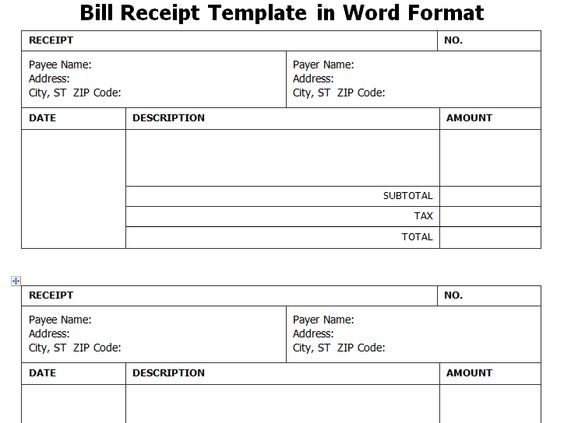 Get Bill Receipt Template in Word Format WordTemplateInn Excel - home rent receipt format