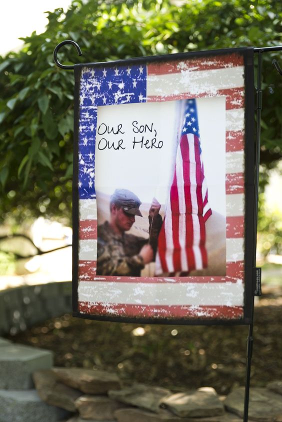 Our Son Our Hero custom patriotic garden flag from flagologycom