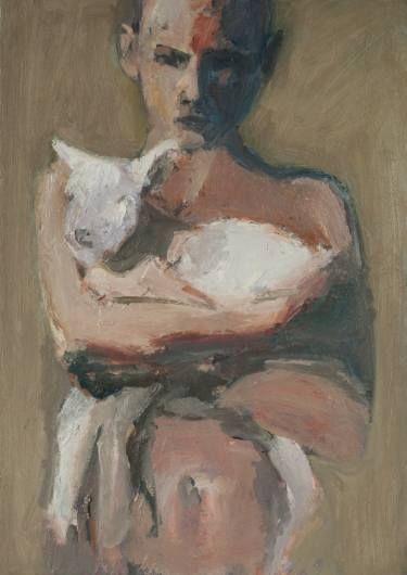 "Saatchi Art Artist Olga Bos; Painting, ""Child with lamb"" #art"
