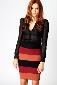 ShopStyle.fr: Vivien Colour Block Pencil Skirt Boohoo.