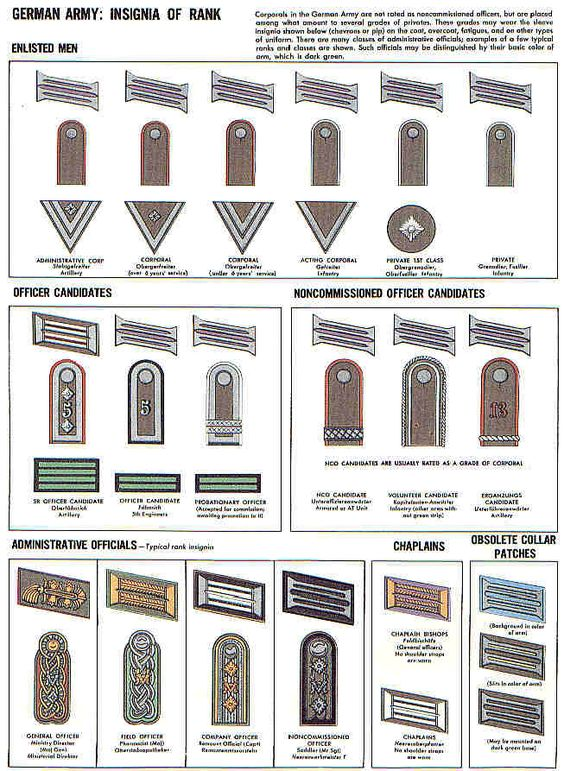 German Rank Insignia | Wehrmacht WWII | Pinterest | Search, Army ranks ...