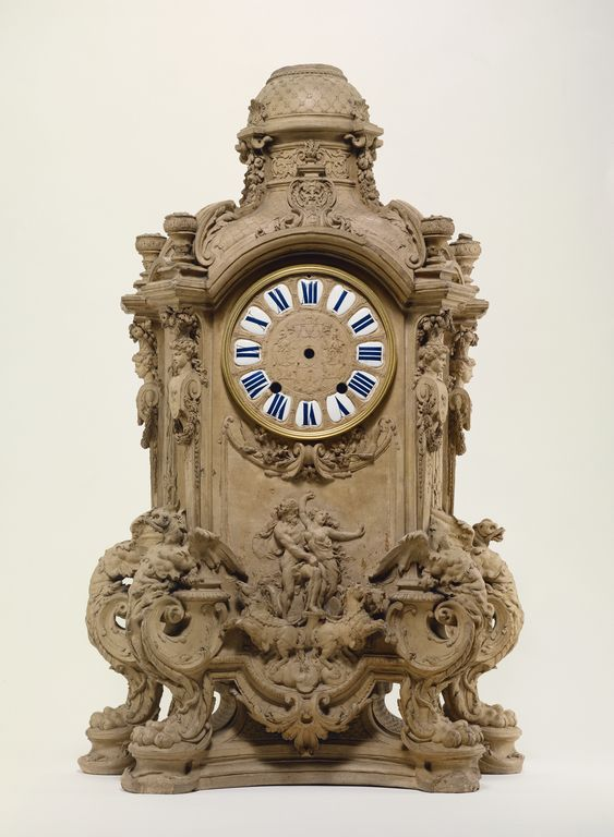 Model for a Mantel Clock; Unknown; Paris, France; about 1700; Terracotta; enameled metal; 78.7 x 52.1 x 24.1 cm (31 x 20 1/2 x 9 1/2 in.); 72.DB.52