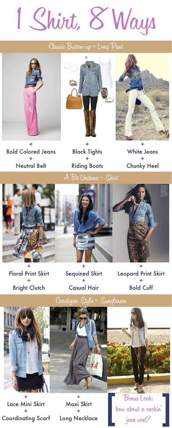 The denim shirt is so easy to throw on and can be worn with many things. Effortless chic.: