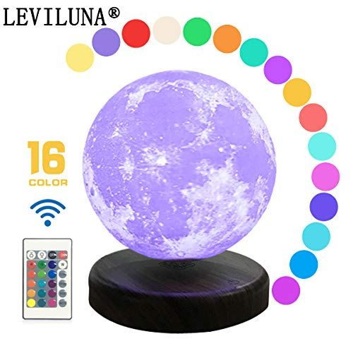 Leviluna 16colors 5 9 15cm 3d Magnetic Levitate Moon Lamp Maglev Moon Light Seamless Printedandremoterandtouch Contro Light Magic Creative Gifts Levitation