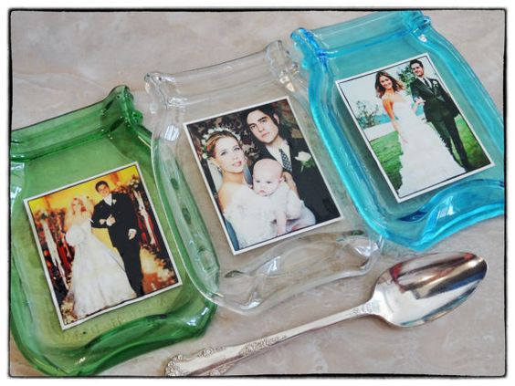 Wedding Picture Melted Mason Vintage Style Blue Ball Jar can be used as a spoon rest soap dish butter dish includes gift box