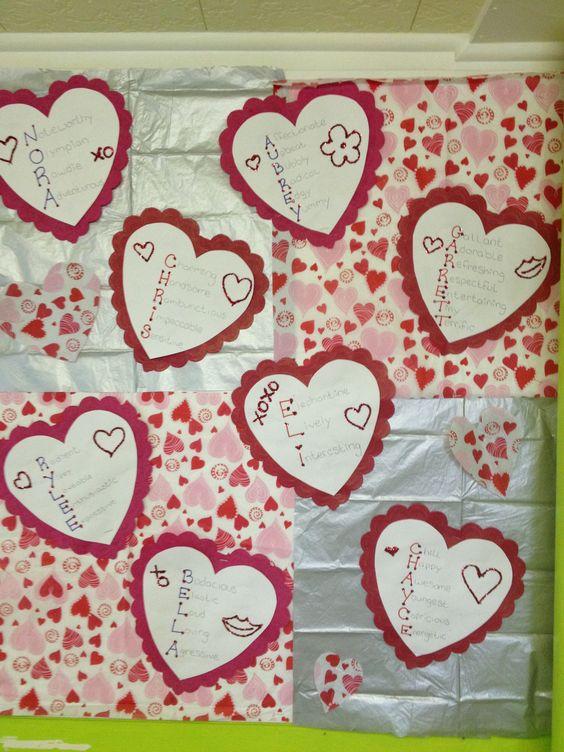 Valentines day board - name poems.