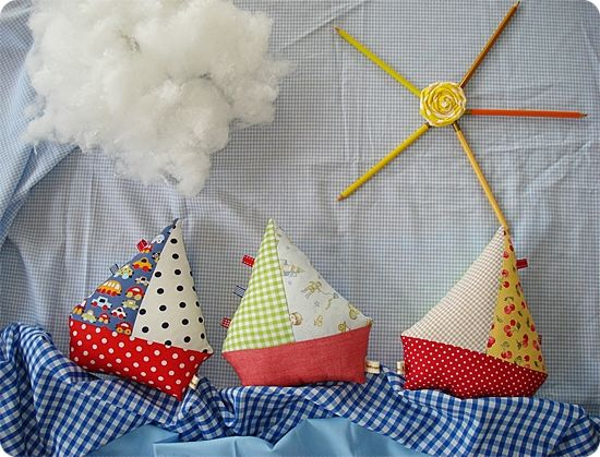 For Baby Hale: Sailboat Pillow, Fabric Boat, Fabric Scrap, Baby Gift