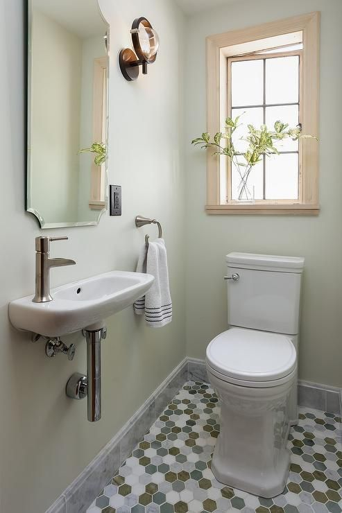 Lovely Green And Gray Powder Room Small Toilet Room Toilet Room Decor Small Bathroom Makeover