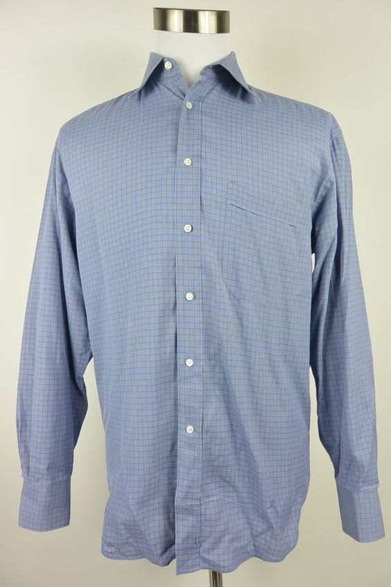 Canali 39 15.5 Blue Green Checkered Cotton Mens Dress Shirt Italy #290 #Canali