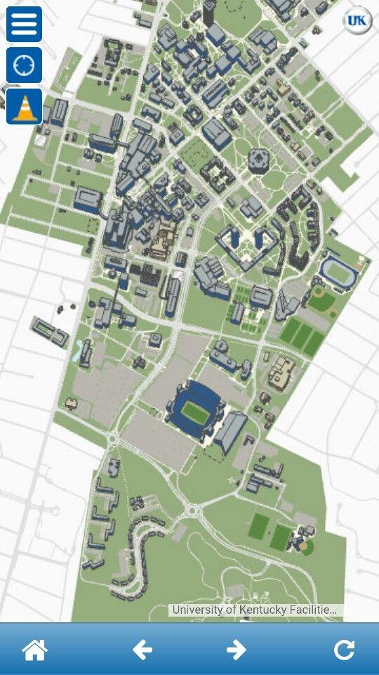 Screenshot of UK campus map from myuk app Commuting 2 Pinterest