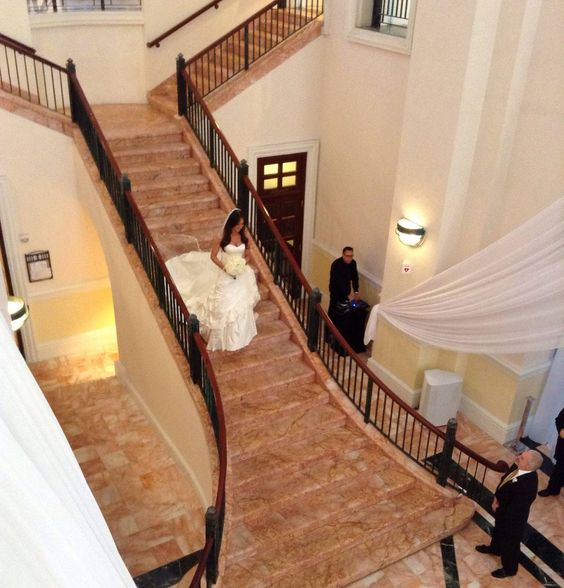 beautiful elegant gorgeous charming wedding photography wedding picture wedding photo bride staircase stairs walk walking down the aisle marble floors hotel Westin Colonnade miami coral gables florida white dress descending