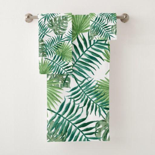 Tropical Green Palm Leaves Watercolor Art Bath Towel Set Zazzle