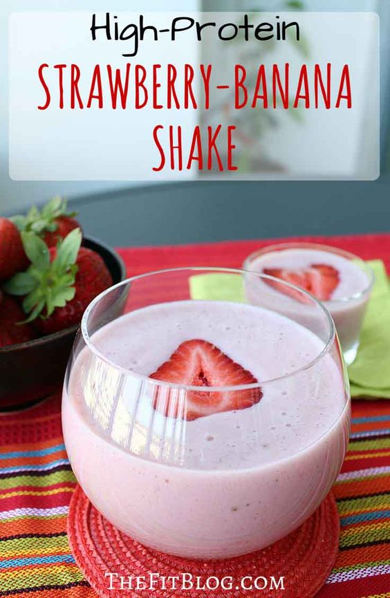 This strawberry banana protein shake tastes amazing after a workout. It's also great as a healthy, refreshing treat on warm summer days.