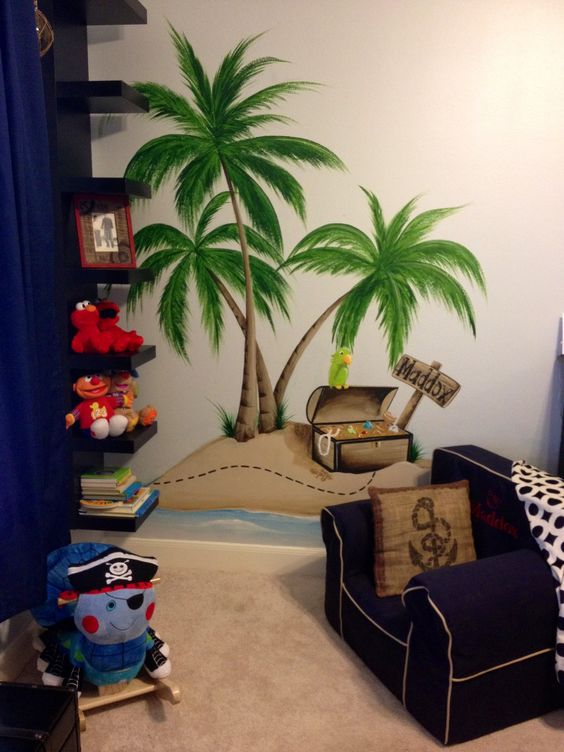 www.muralsbywhitney.com painted an incredible pirate themed mural for Maddox's room!!