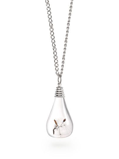 Silver Glass Vial Dandelion Seed Pendant Necklace