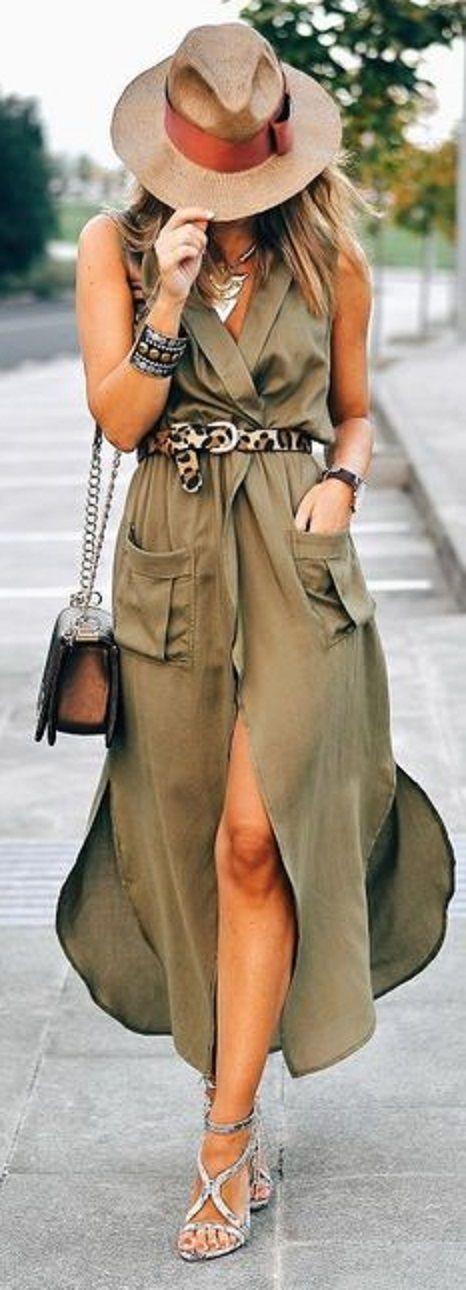 Stylish Army Green Sleeveless V Neck Split Pockets Women's Dress