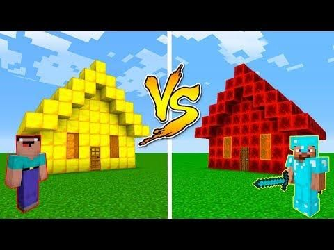 Minecraft Noob Vs Pro Gold House Vs Redstone House In Minecraft Noob Minecraft Redstone
