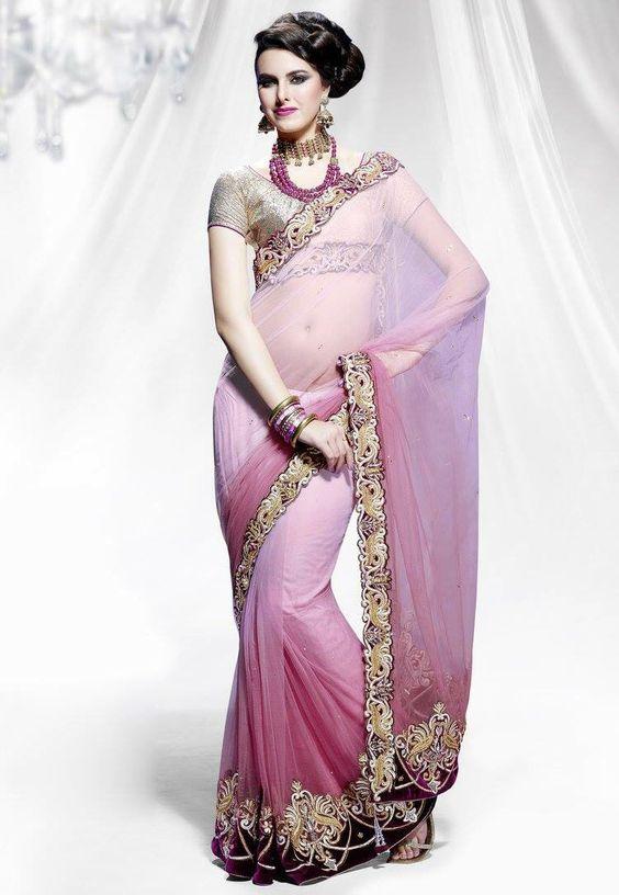 Shaded Light Rose Sari