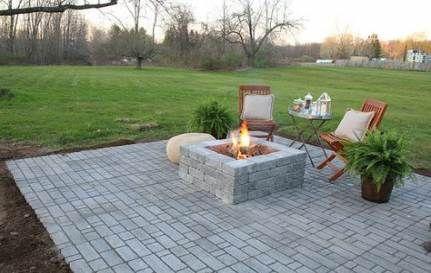 Trendy Backyard Fireplace Modern Patio Ideas Backyard Paver