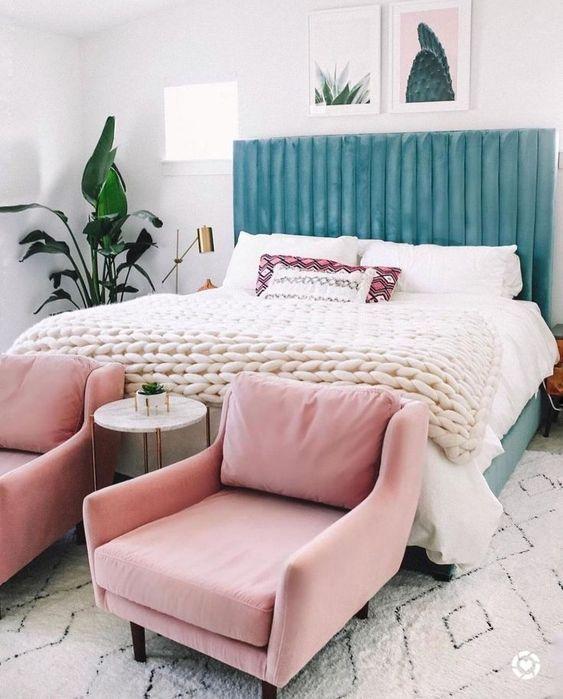 roze en blauwe slaapkamer