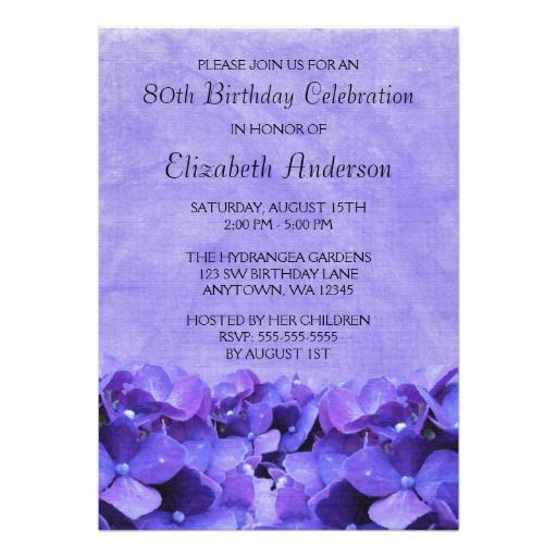 Discount purple hydrangeas 80th birthday party for Where can i buy party invitations