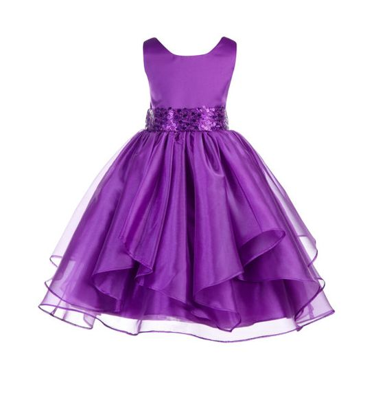 *Material: Elegant Satin Poly / Organza Tulle / Satin Lining *Color: purple/ with attached sequin sash  *Style: #012  *Size: Choices of 4 6 8 10