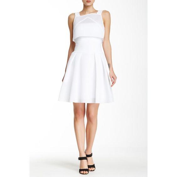 Black Halo Ricci 2-Piece Dress (4 720 UAH) ❤ liked on Polyvore featuring dresses, white, sleeveless dress, white overlay dress, zipper back dress, perforated dress and black halo dress