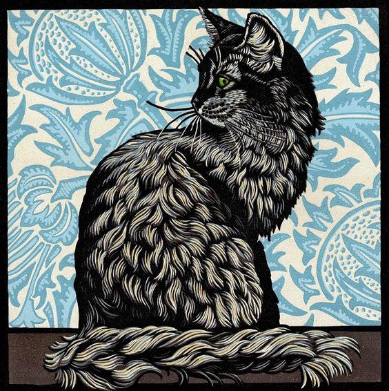 Cat Linocut by Jill Kerr would make an amazing black ink woodcut tattoo