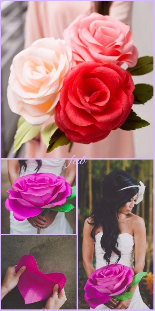 Diy Crepe Paper Rose Tutorial Wedding Flower Bouquet Crepe Paper