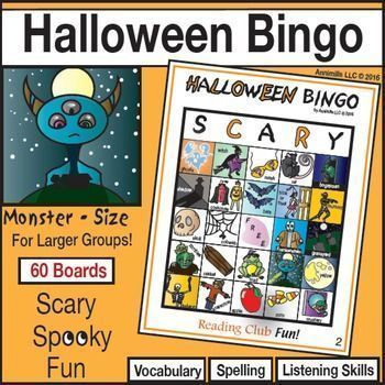 HALLOWEEN BINGO - This high-quality bingo game offers a fun, active way to foster spelling, vocabulary, and listening skills. A bit of spooky, scary fun! Includes:  • 60 different playing boards  • 50 calling cards with illustrations, vocabulary words and the letter of the column they are in  • Quick Look Key – to mark & keep track of what cards were called. Helps to quickly verify winners.  • BONUS: FREE Halloween word search puzzle to warm kids up on the vocabulary used in the game.