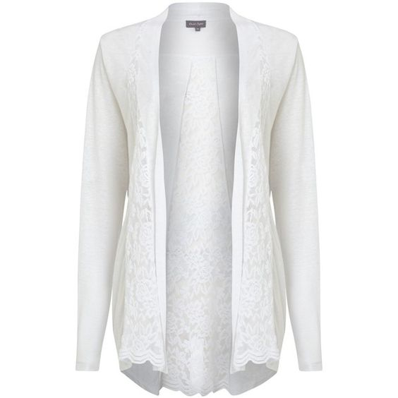 Phase Eight Lace Linen Cardigan, White (136.555 COP) ❤ liked on ...