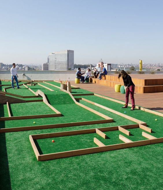 The designers for Wal-Mart's office in Brazil put a mini-golf course on the roof