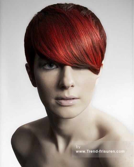 Westrow FRISEUR Kurze Rot weiblich Gerade Farbige Multi-tonalen Frauen Haarschnitt Frisuren hairstyles