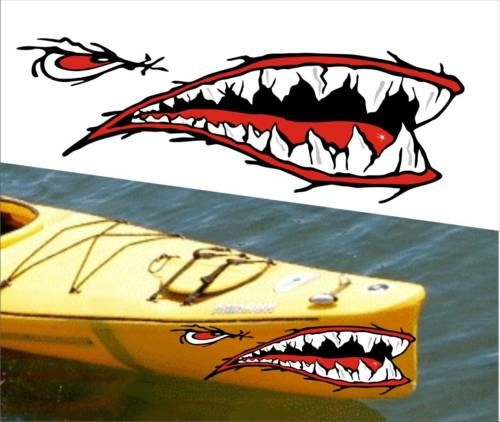 Shark teeth mouth decal stickers kayak canoe jet ski hobie for Fishing boat decals