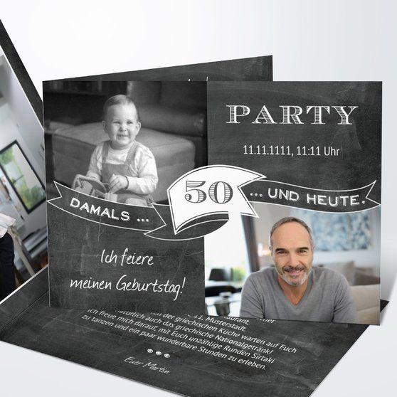 Jahrestafel 50 Horizontal Einfach 148x105 Dunkelgrau Einladung