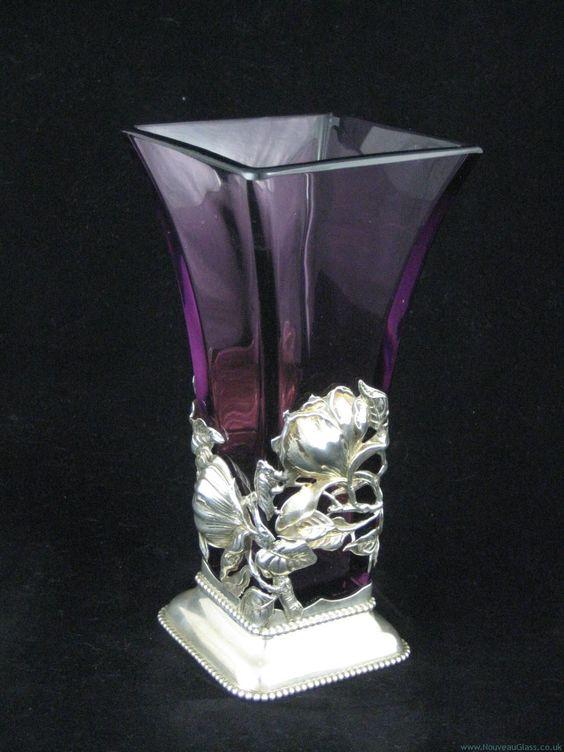 ART NOUVEAU Vase in Silver Stand / Art Nouveau Glass & Decorative Arts   JV