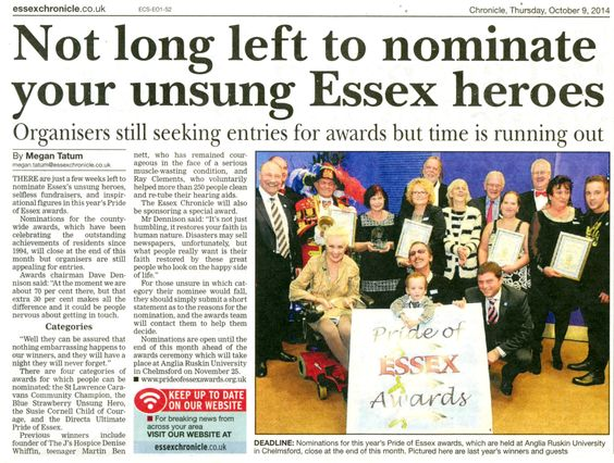 Hurry up and get your nominations in for this years Pride Of Essex Awards! Nominations can be made online or by post to 'P.O.E ' , c/o Directa UK Ltd Cold Norton Essex CM3 6UA.