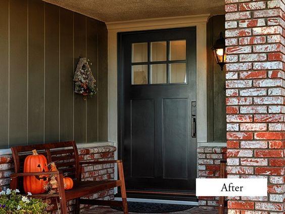 Craftsman style 42 entry door with no shelf jeld wen model a 362 aurora fiberglass with - Black craftsman front door ...