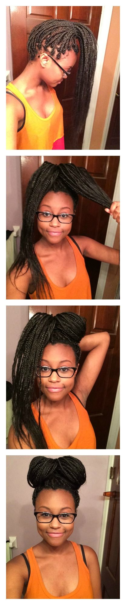 EASY HAIRSTYLES FOR BOX BRAIDS, NATURAL HAIR, A BOWTIE BUN http://naturallykoily.blogspot.com/2014/05/i-recently-got-my-hair-braided-by-my.html