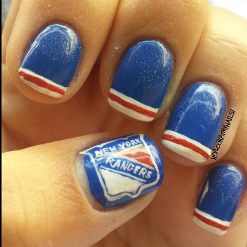 New York Rangers Manicure 2 0 Hockey Pinterest And Nails