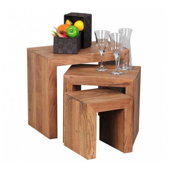FineBuy Couchtisch Massiv-Holz Sheesham 60 cm breit Wohnzimmer