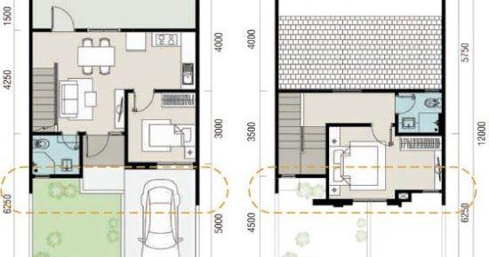 Denah Rumah Ukuran 7x12 Me 2 Kamar Tidur 2 Lantai Tampak Depan