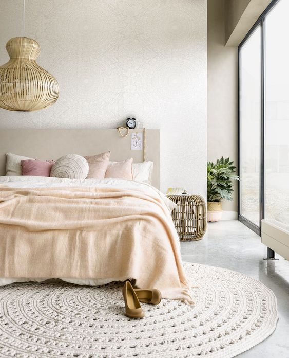 slaapkamer met rond vloerkleed