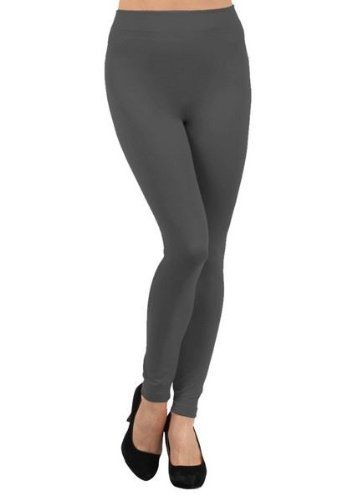 Yelete Solid Color Seamless Kermo Fleece Legging (Charcoal)