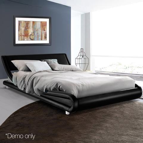 Flio Queen Size Bed Frame Black Black Bed Frame Leather Bed