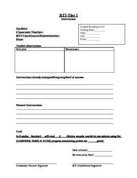 RTI Data Tracking Worksheet | Worksheets