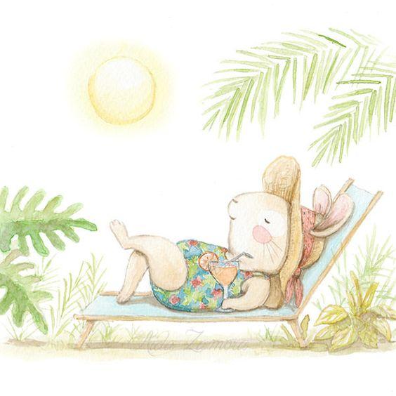 Ilustración conejo tomando el sol