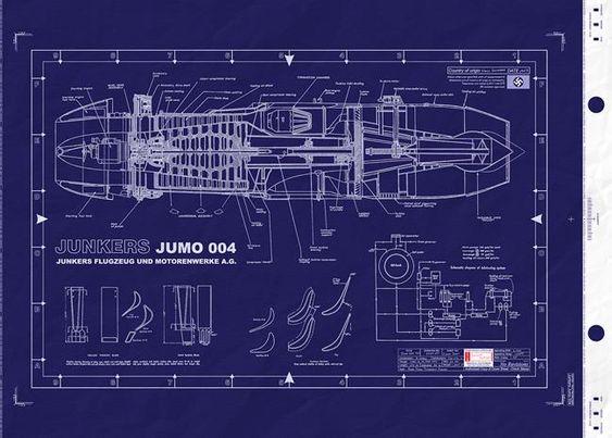 Junkers Jumo 004 Jet engine Blueprint