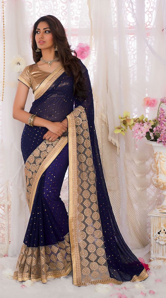 Lovely Dark Blue Georgette Beautiful Saree With Embroidery Work