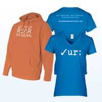 Get Your Rear in Gear Orange Hoodie & Ladies Tee Bundle On average 40% of each item sold will be donated by Fusion to the Colon Cancer Coalition/Get Your Rear In Gear® to help further the mission of colon cancer screening and community education. The donation amount varies for each item.
